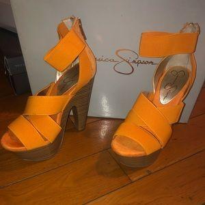 Jessica Simpson Orange Platform Wedges